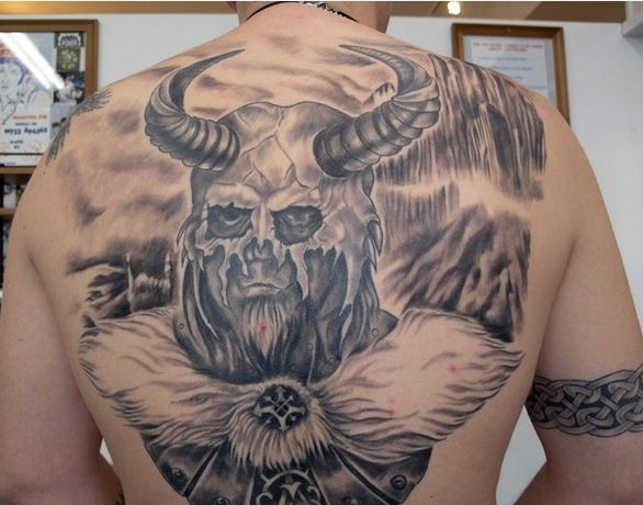Cool Detailed Viking Tattoo On Back Tattooimages Biz