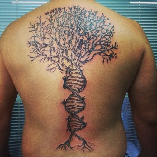 Cool DNA shaped black ink whole back tattoo of lonely tree