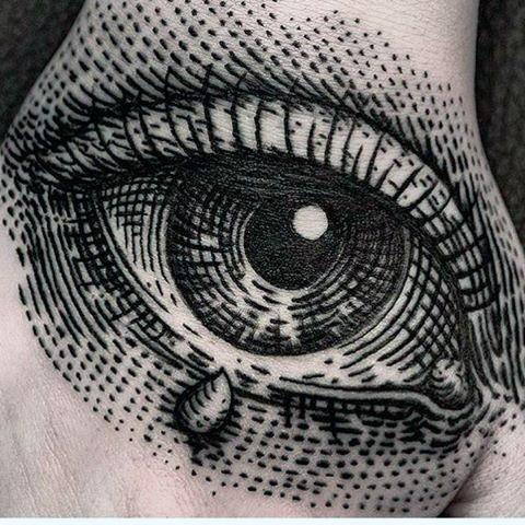 Cool dot style black ink big human eye tattoo on hand