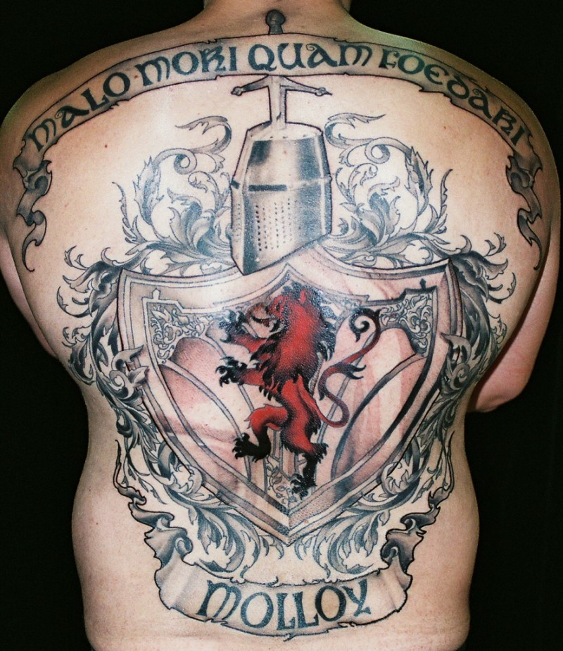 Scottish Tattoo: Cool Family Scotland Crest Tattoo On Whole Back