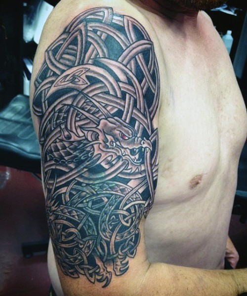 Cool fantasy style black ink Celtic dragon half sleeve tattoo