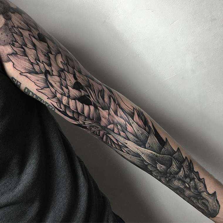 Cool fantasy style colored big sleeve tattoo of dragon