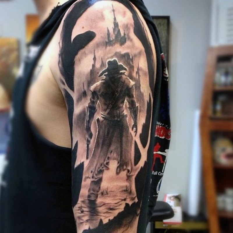 Cool fantasy world like black and white mystic warrior tattoo on arm