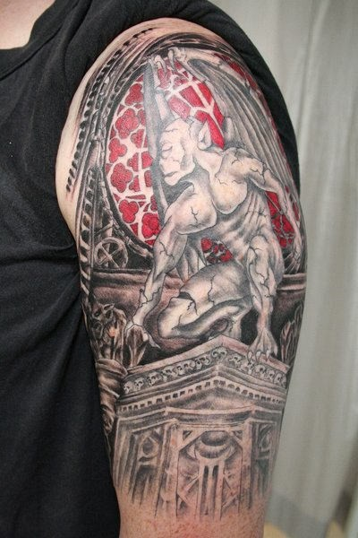Cool gargoyle tattoo on shoulder - Tattooimages.biz
