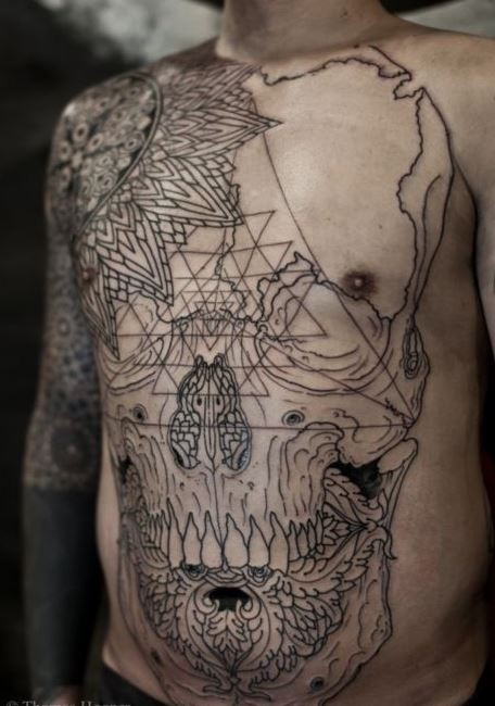 Cool great black lines skull tattoo on whole body by Thomas Hooper