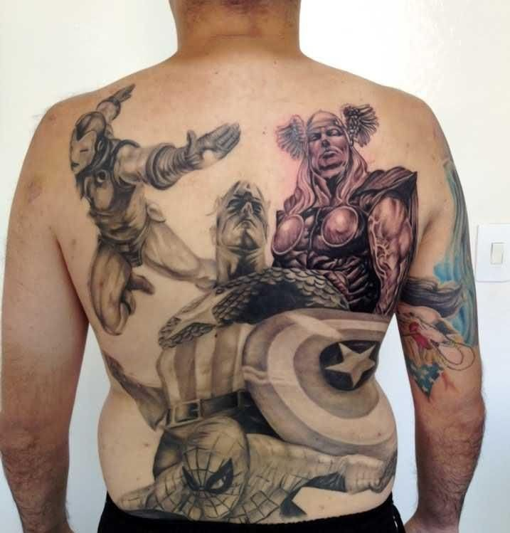Cool half colored comic books style various Marvel superheroes tattoo on whole back