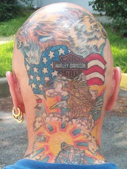 Cool harley davidson logo of tattoo on head