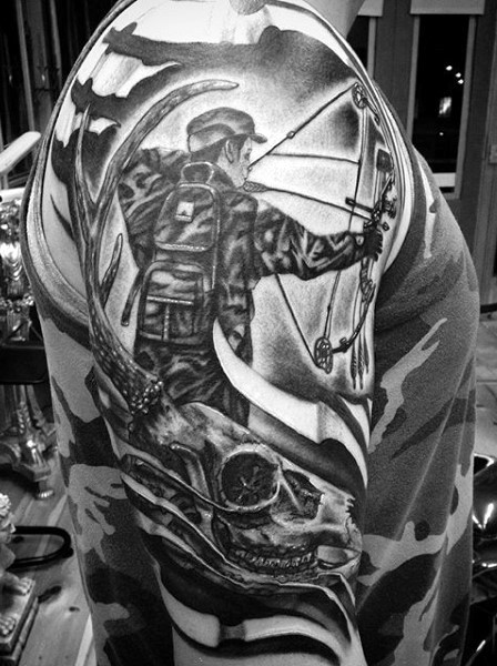Cool hunting themed shoulder tattoo of man with bow and for Archery tattoo pictures