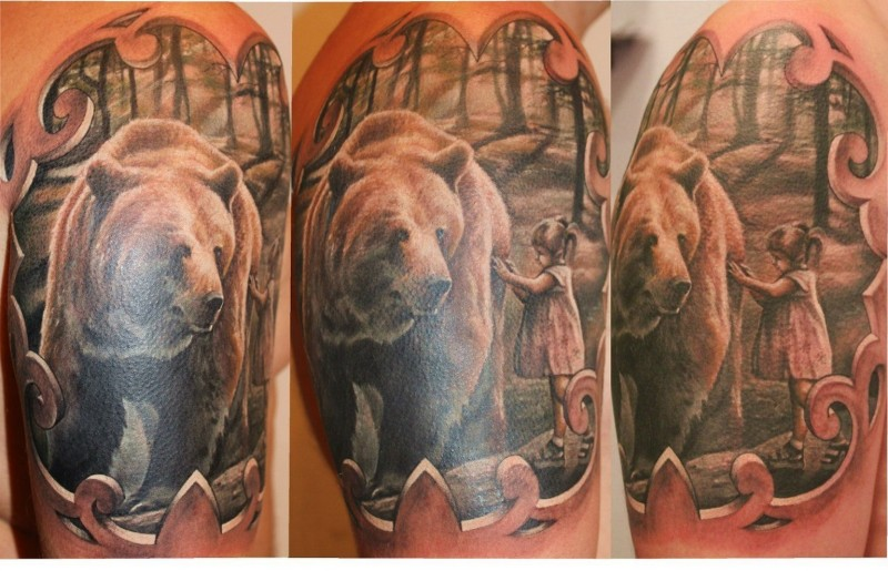 Cool idea of bear with girl tattoo on shoulder