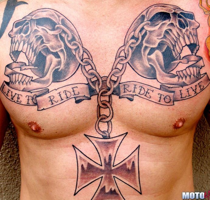 Cool idea of biker tattoo on chest