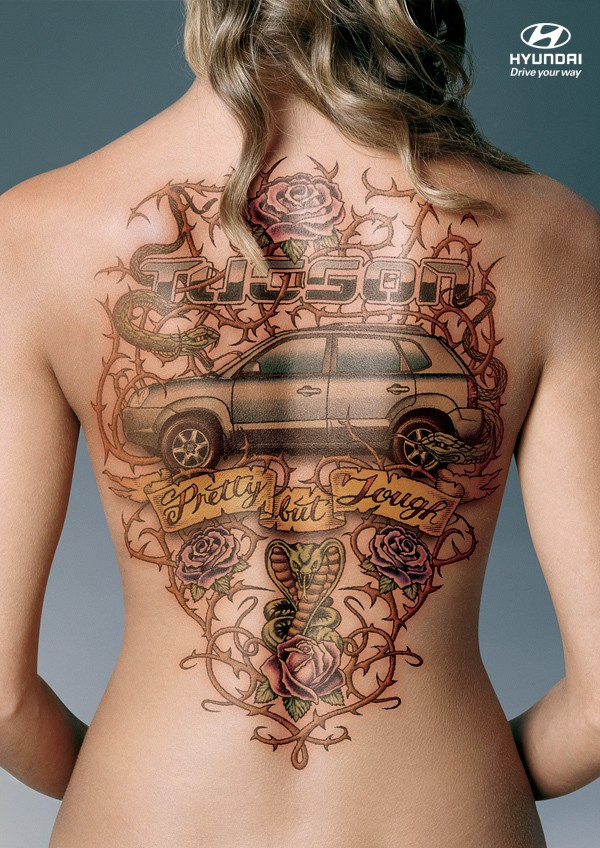 Cool idea of car tattoo on back