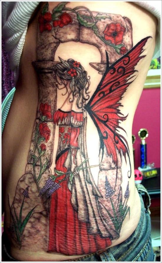 Cool idea of fairy tattoo on ribs