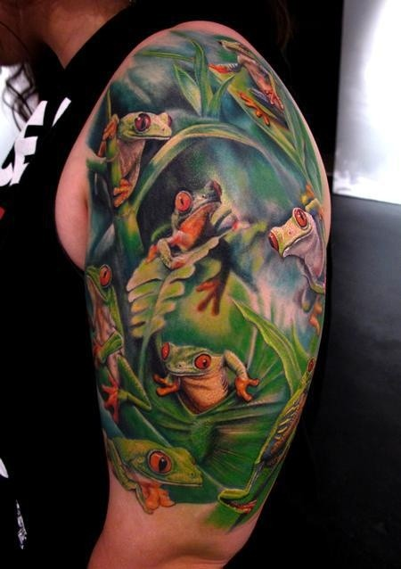 Cool idea of frog tattoo on half sleeve