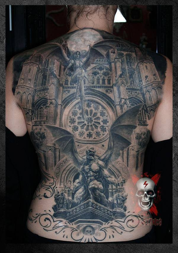 Cool idea of gargoyle tattoo on whole back