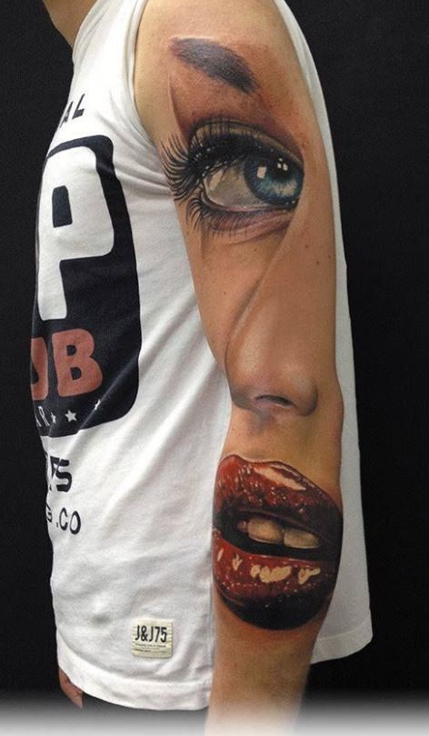 Cool idea of girl tattoo on arm