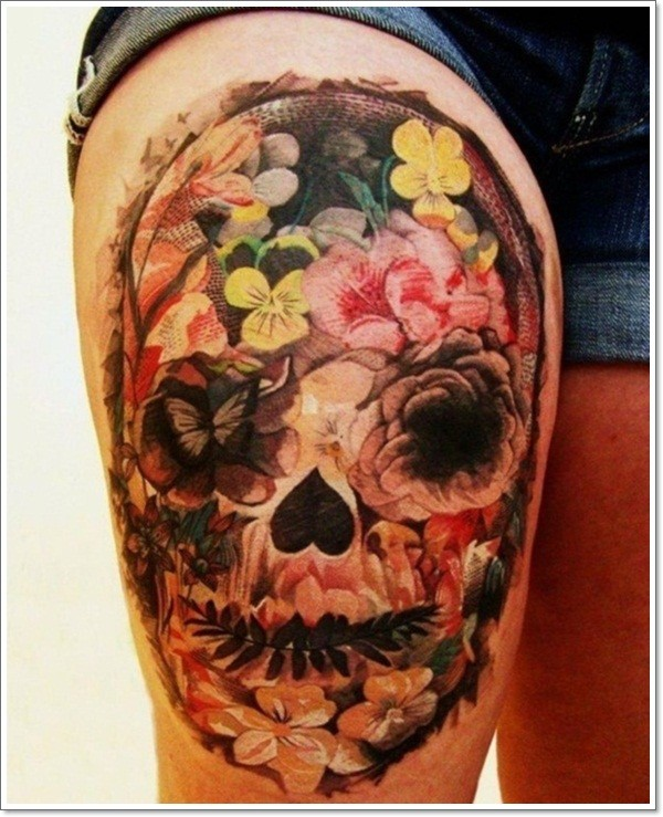 Cool idea of mexican sugar skull tattoo