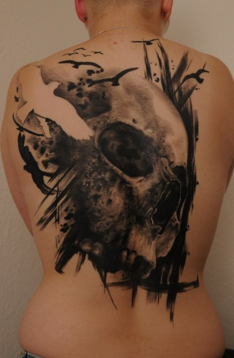 Cool idea of skull and birds tattoo for men