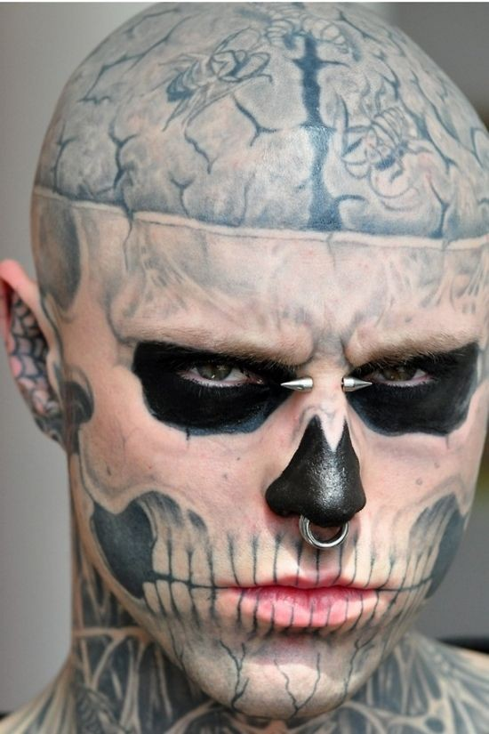 cool idea of skull face tattoo