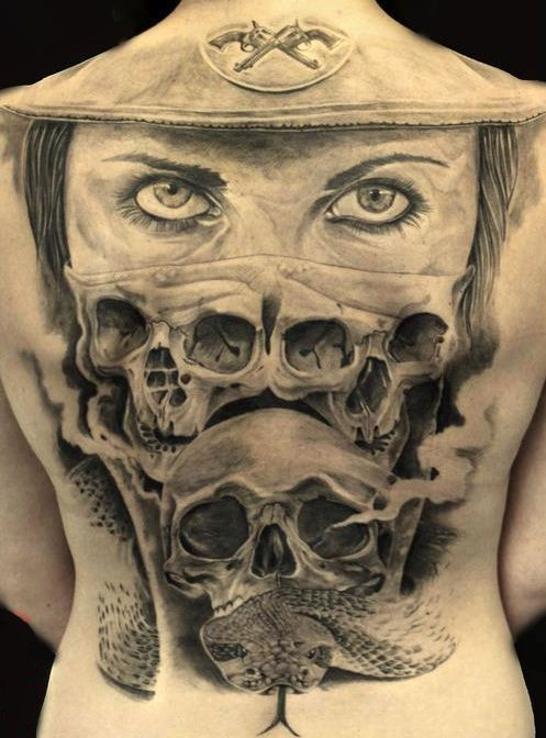 Cool idea of skull tatttoo on back