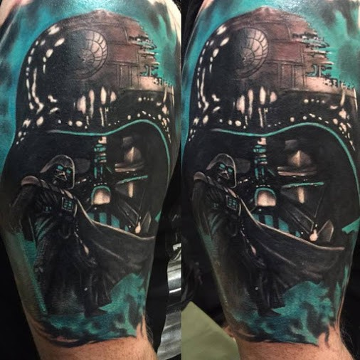Cool illustrative style colored shoulder tattoo of Darth Vaders mask and Death Star