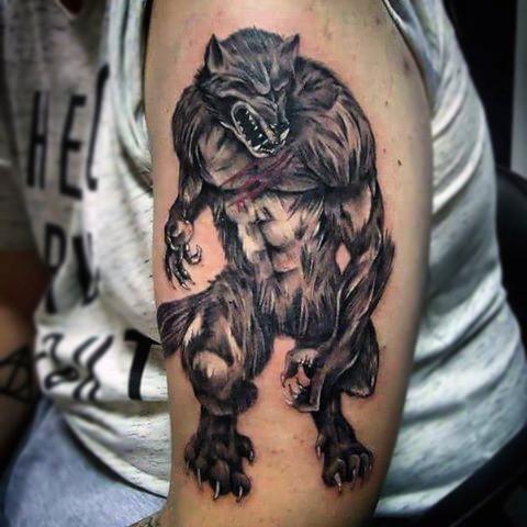 Cool illustrative style shoulder tattoo of evil werewolf