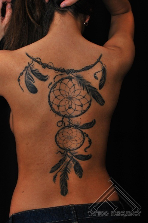 Cool looking back tattoo of dream catcher with feather