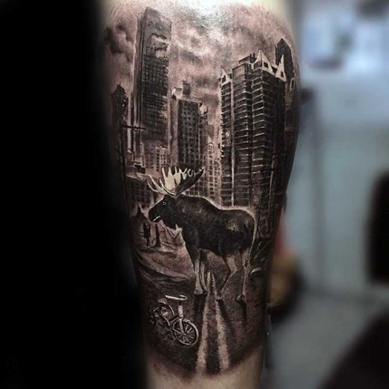 Cool looking black and white forearm tattoo of abandoned cite with animals
