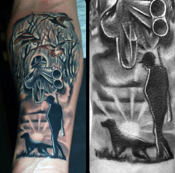 Cool Looking Colored Forearm Tattoo Of Hunter With Hunters Dog Tattooimages Biz