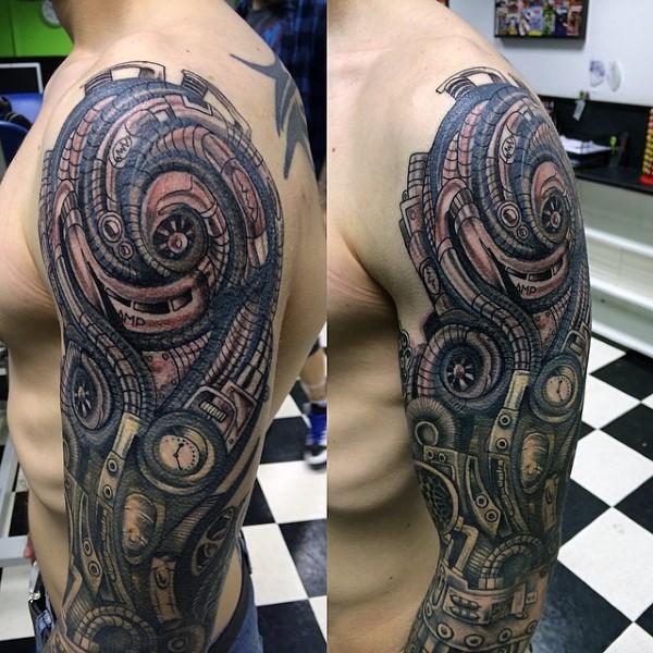 Cool looking colored lien like biomechanical hand tattoo on sleeve