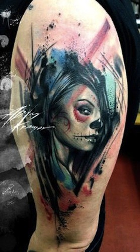 Cool looking Mexican traditional shoulder tattoo of watercolor style woman portrait