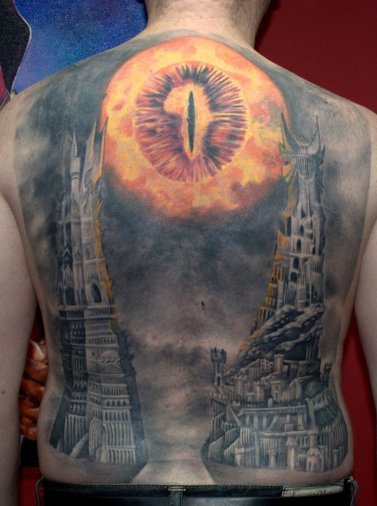 Cool Lord of the Rings themed very detailed colored tattoo on whole back area