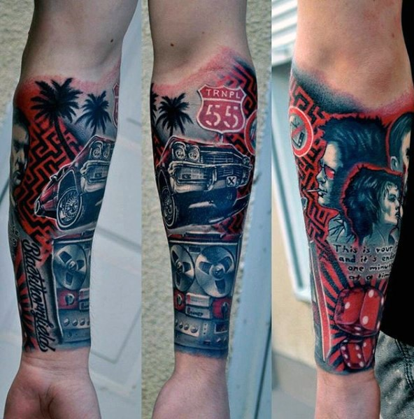 Cool multicolored detailed classic cart tattoo on forearm with lettering and dice