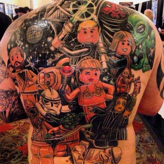 Cool multicolored Star Wars themed back tattoo of Lego heroes