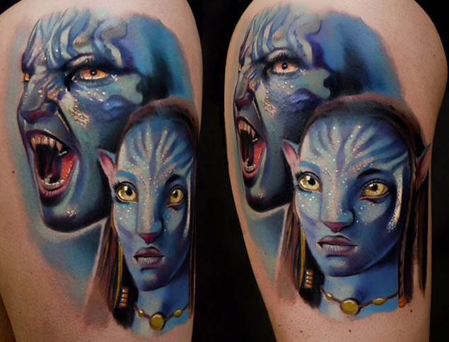 Cool natural looking detailed shoulder tattoo on various Avatar heroes
