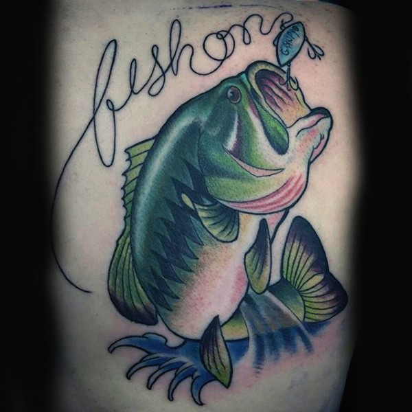 Cool painted big colored fish with lettering tattoo on leg