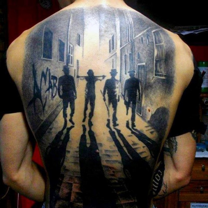 Cool painted black and white thugs in night city tattoo on whole back