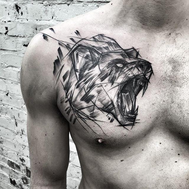 Cool painted by Inez Janiak sketch tattoo of roaring bear
