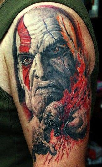Cool painted cartoon style designed big shoulder tattoo on evil barbarian portrait