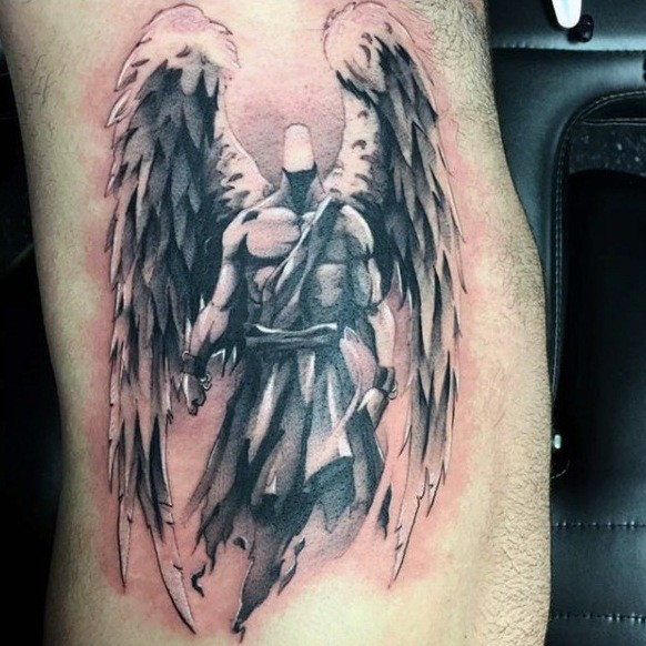 Cool painted glorious black and white angel tattoo