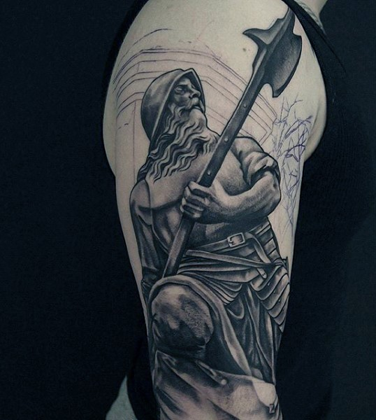 Cool painted unfinished black ink detailed medieval warrior tattoo on arm