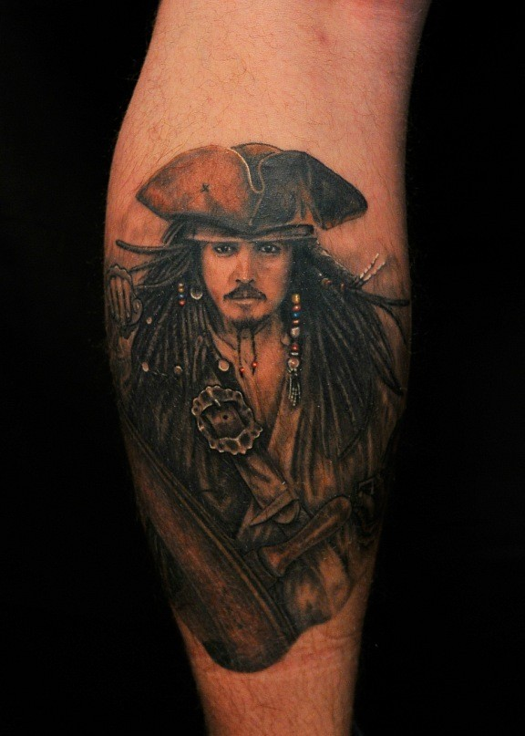Cool pirate of caribbean sparrow face tattoo