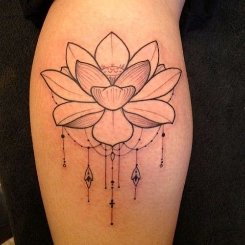Cool small gray-ink lotus flower with beads tattoo on shin