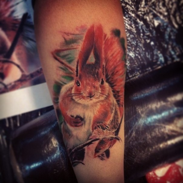 Cool squirrel tattoo on wrist