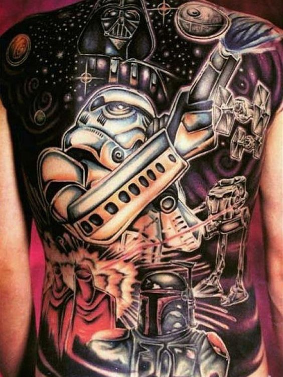Cool Star Wars themed massive whole back tattoo with various heroes