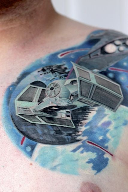 Cool Star Wars themed shoulder tattoo of various Empire ships