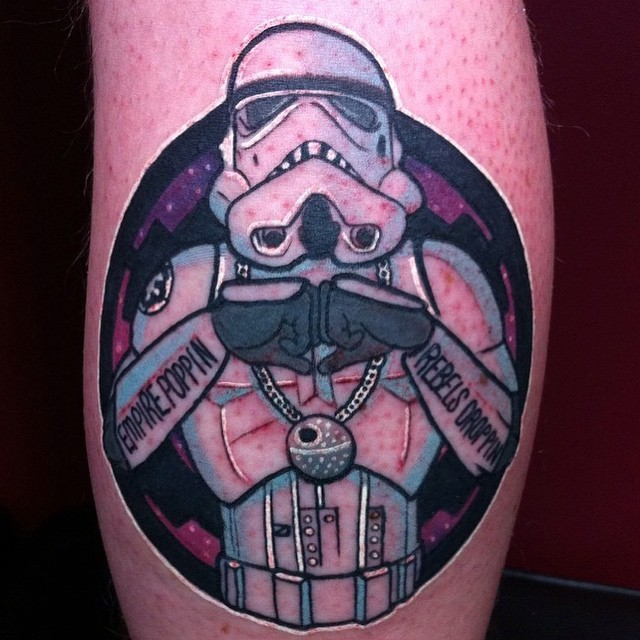 Cool thug style colored leg tattoo of Storm Trooper
