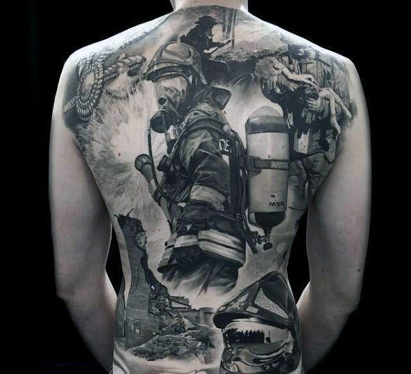 Cool very detailed painted black ink firefighter themed tattoo on whole back