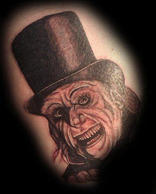 Cool vintage horror movie tattoo of detailed gentleman monster