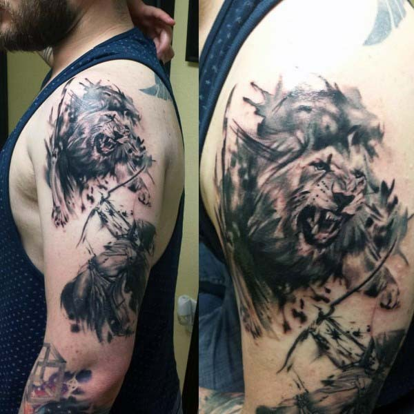 Cool wild roaring lion with archer tattoo on arm