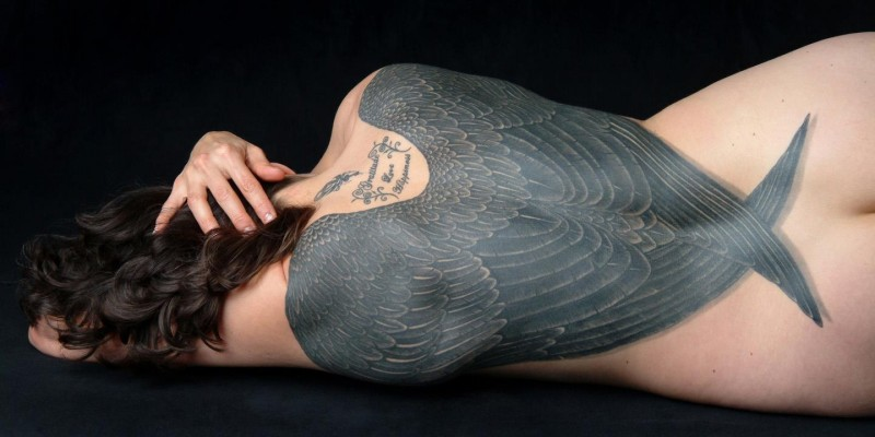 Cool wings idea tattoo on whole back